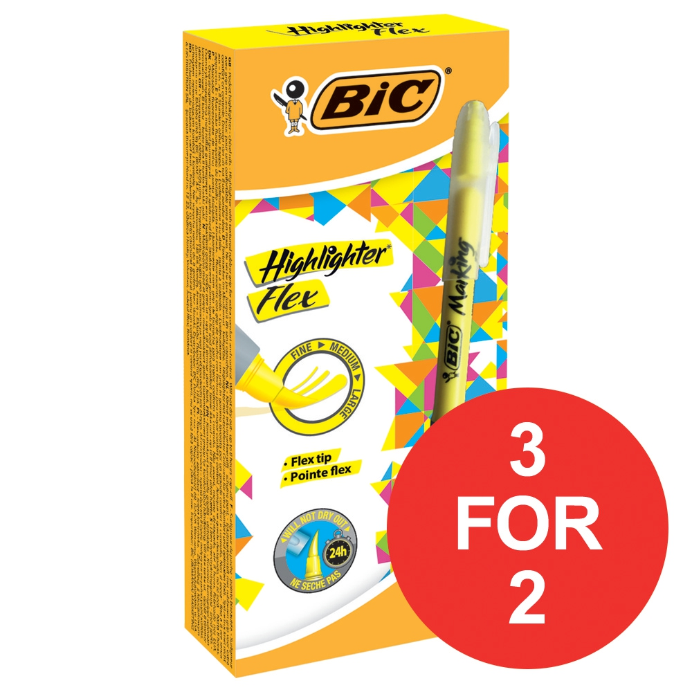 Image for Bic Grip Pen-shaped Highlighter Yellow Ref 942040 [Pack 12] [3 For 2] Jan-Mar 2018