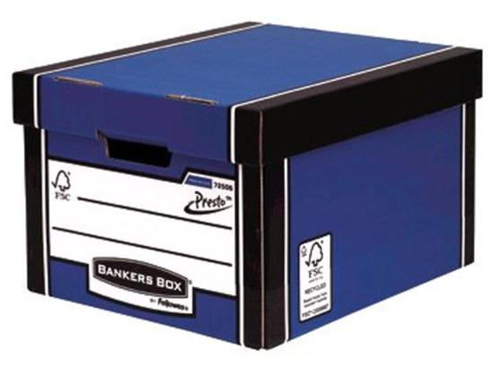 Image for Bankers Box Premium Storage Box Classic FSC Blue and White [Pack 12] [12 for the price of 10] Ref 7250603