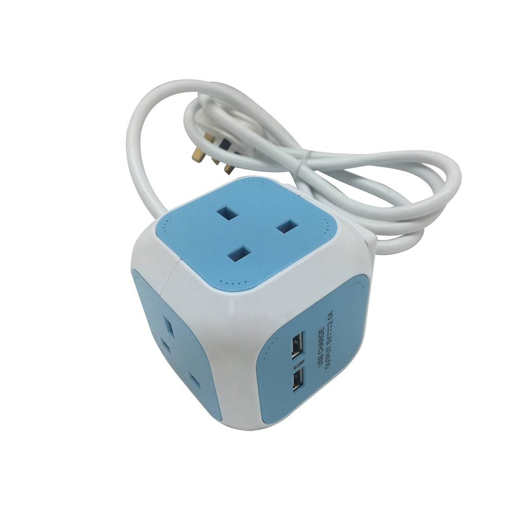 Image for Cube Extension Lead with 4 Sockets 13amp 2 USB Slots 1.4 Meter Cable Blue Ref EXTCUB