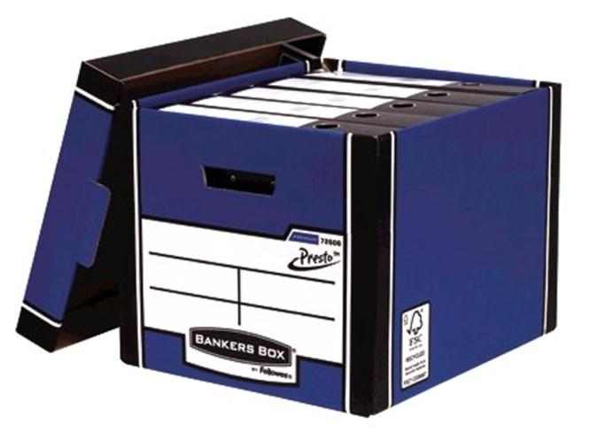 Image for Bankers Box Premium Storage Box Tall FSC Blue and White Ref 7260603 [Pack 12] [12 for the price of 10]