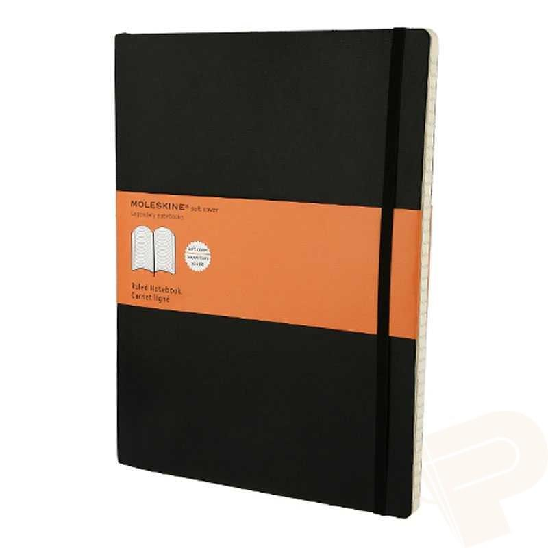 Moleskine XL Notebook Casebound Softback Ruled 70gsm 192pp 190x250mm Black Ref QP621