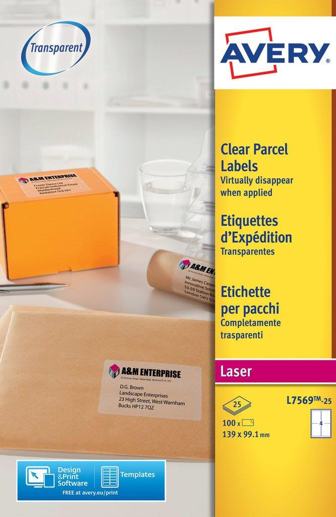 Image for Avery Parcel Labels Clear Gloss Laser 139x99.1mm Ref L7569-25 [Pack 100]