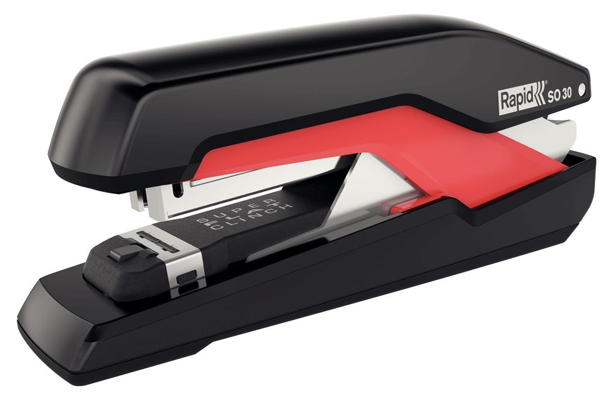 Image for Rapid Supreme Omnipress SO30 Stapler Full Strip Staples Up To 30 80gsm Sheets Black/Red Ref 5000547