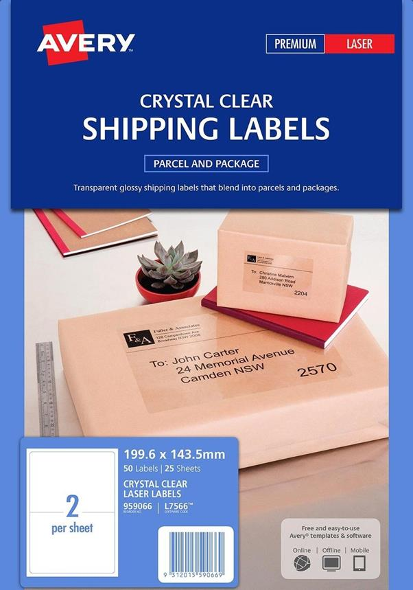 Image for Avery Parcel Labels Clear Gloss Laser 99.1x93.1mm Ref L7566-25 [Pack 25]