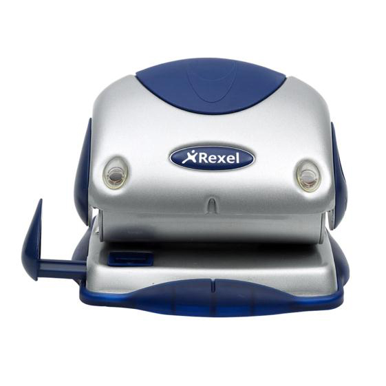 Hole Punches Rexel P215 Punch 2-Hole with Nameplate Capacity 15x 80gsm Silver and Blue Ref 2100739