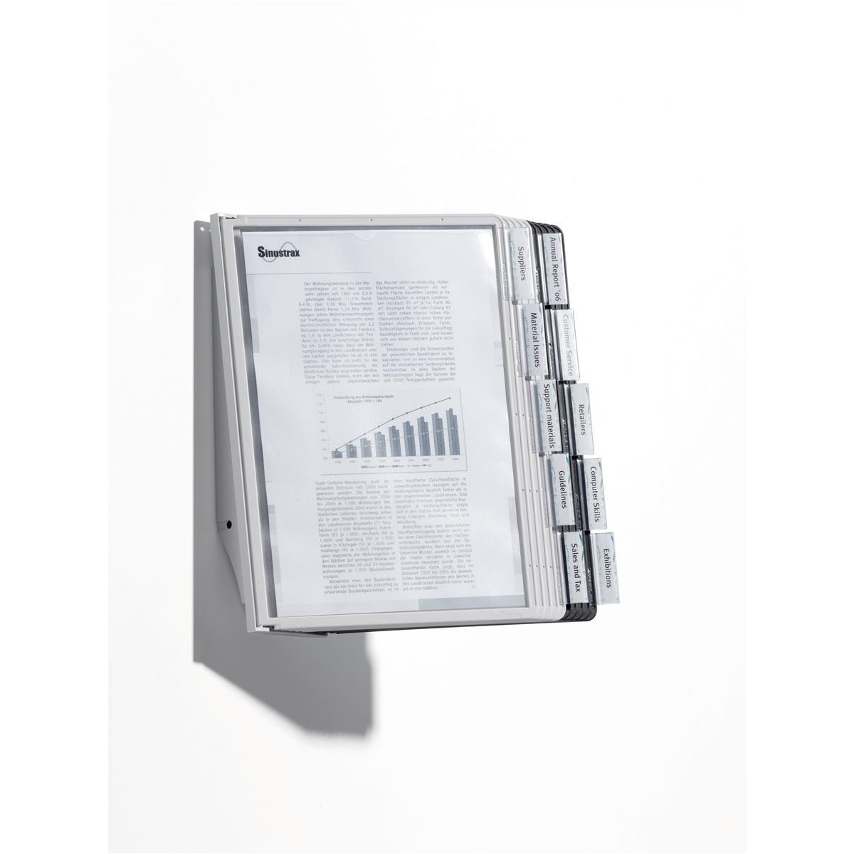 Durable Sherpa Wall 10 Display Wall Unit Complete 10 Index Tabs with 5 Black+5 Grey Panels A4 Ref 5631/22