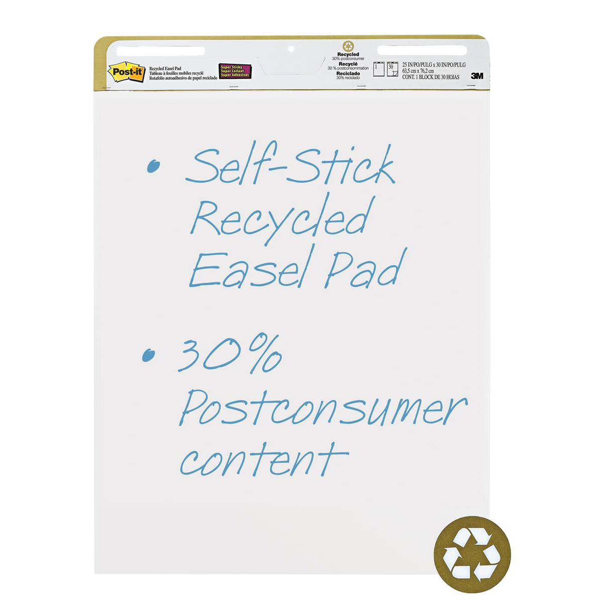 Flip chart Post-it Easel Pad Recycled Self-adhesive 30 Sheets 762x635mm Ref 559RP Pack 2