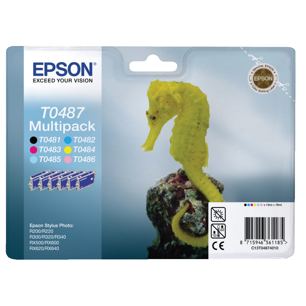 Epson T0487 Inkjet Cartridge Seahorse Multipack Black and 5 Colours Ref C13T04874010 [Pack 6]