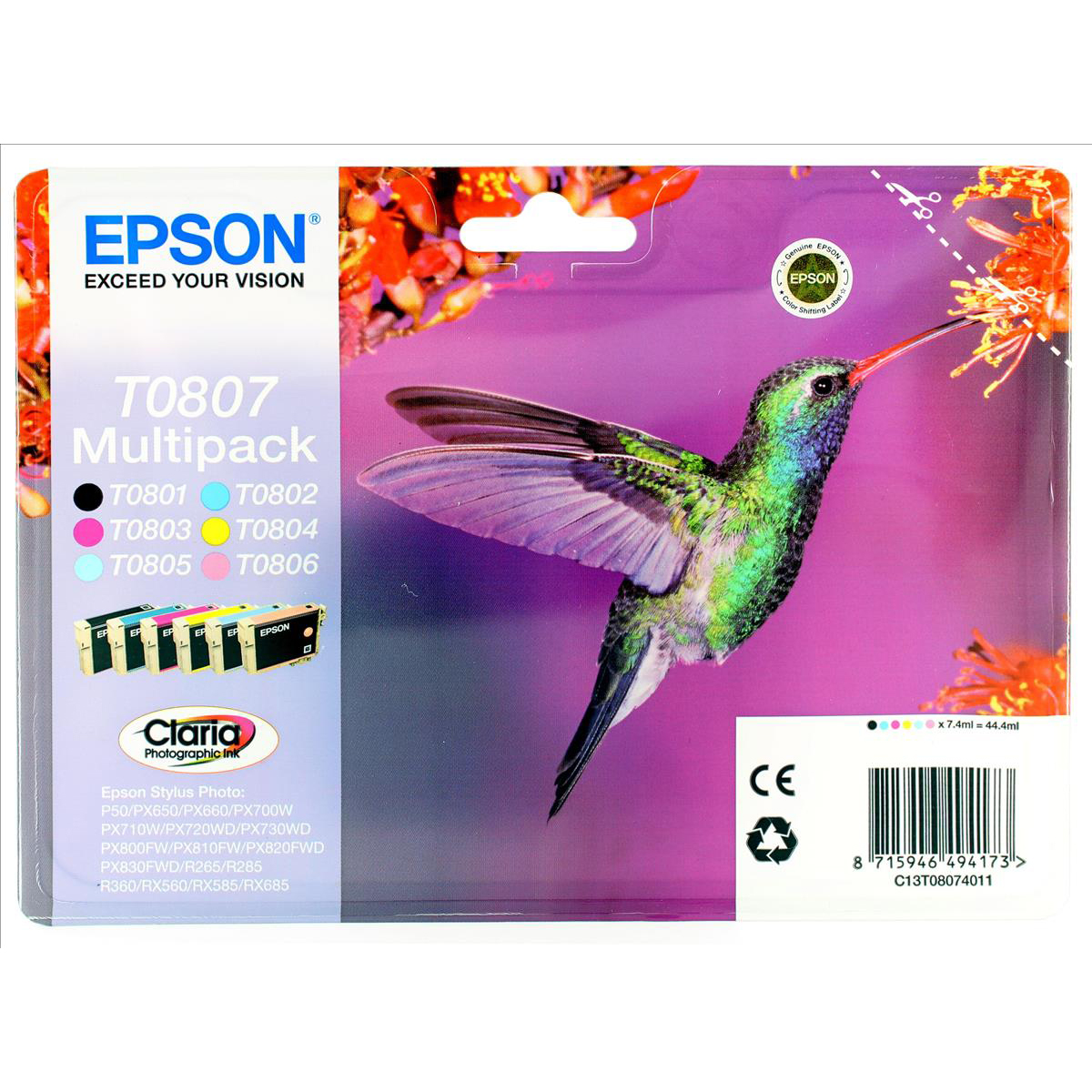 Epson T0807 Inkjet Cart Hummingbird Blk/C/M/Y/LC/LM 7.4ml Ref C13T08074011Pack 6