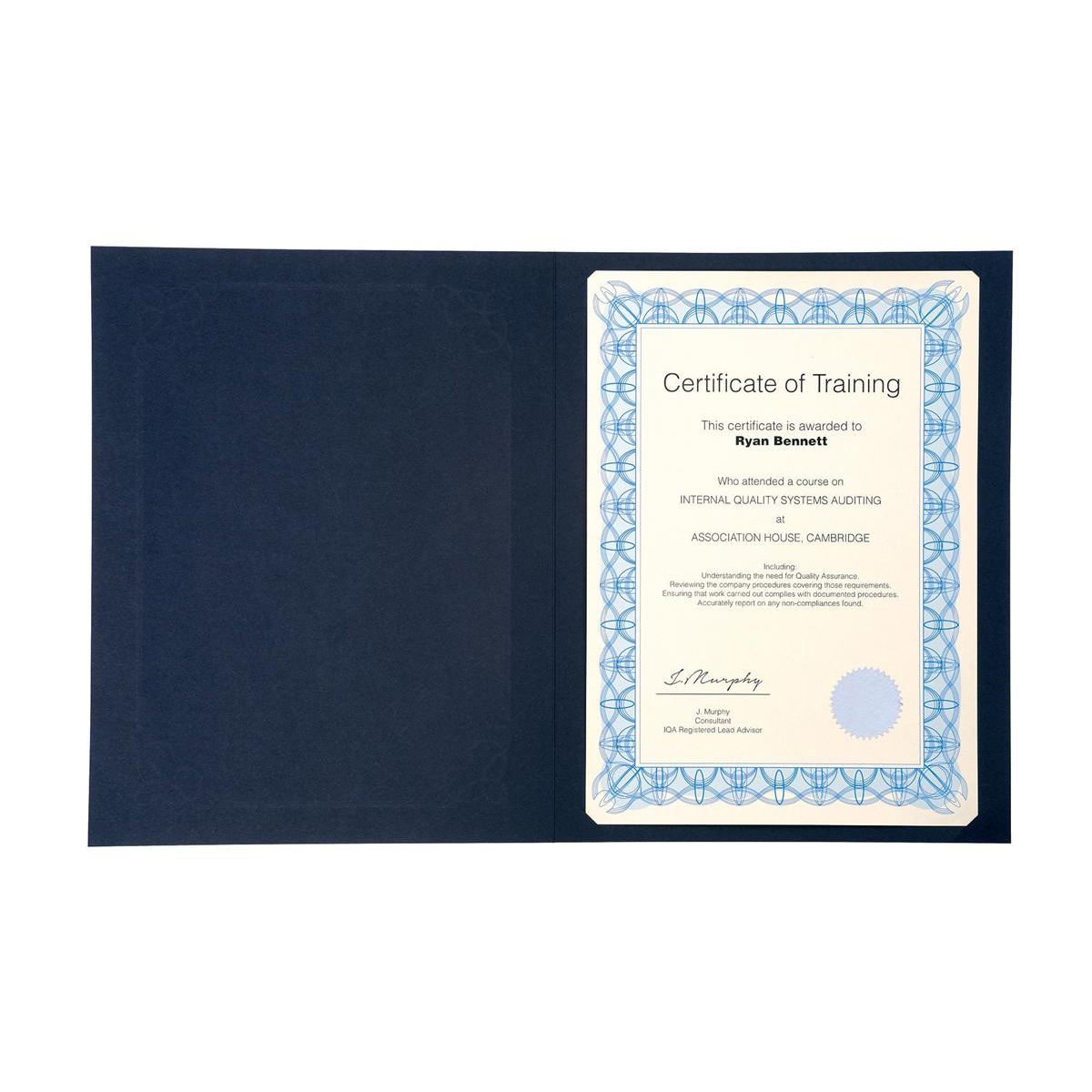 Certificate Covers Linen Finish Heavyweight Card 240g A4 Blue Pack 5