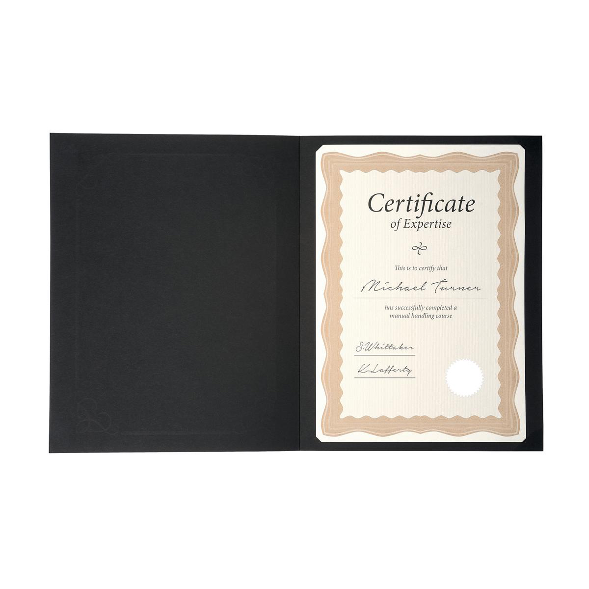 Certificate Paper & Covers Certificate Covers Linen Finish Heavyweight Card 240g A4 Black Pack 5