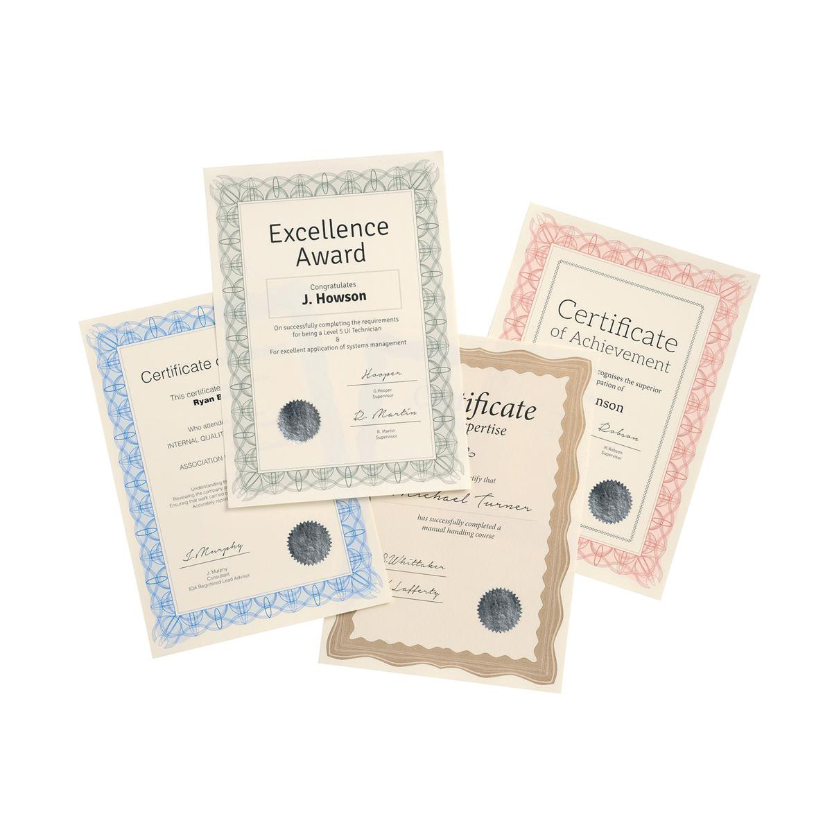Certificate Papers with Foil Seals 90gsm A4 Green Reflex 30 Sheets