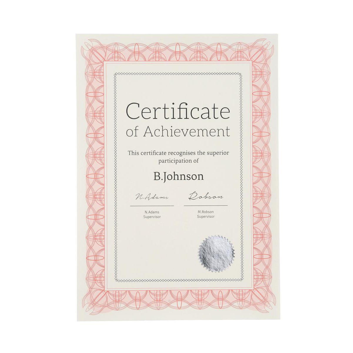 Certificate Papers with Foil Seals 90gsm A4 Reflex Red 30 Sheets