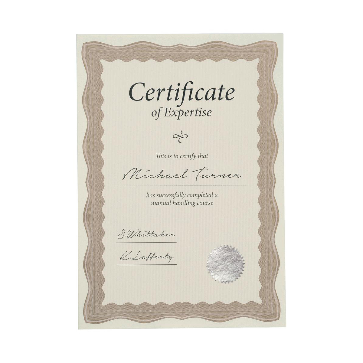 certificate papers with foil seals 90gsm a4 bronze wave