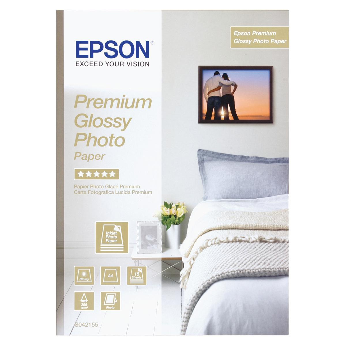 Photo Paper Epson Photo Paper Premium Glossy 255gsm A4 Ref C13S042155 15 Sheets
