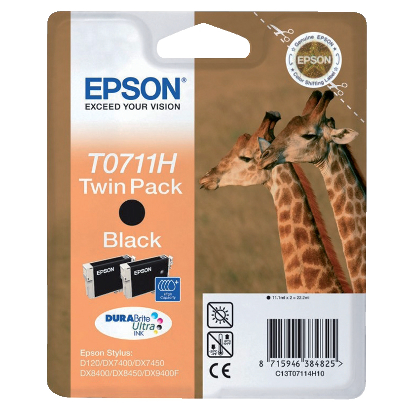 Epson T0711H Inkjet Cartridge Giraffe High Yield Page Life 385pp 11.2ml Black Ref C13T07114H10 Pack 2