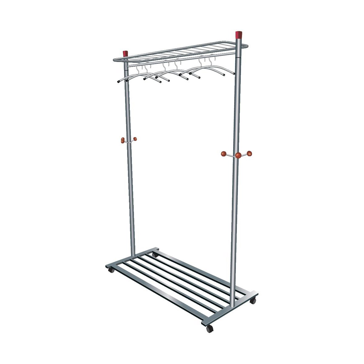 Coat Stands 5 Star Facilities Coat Rack Mobile 4 Wheels 3 Pegs Capacity 40-50 Hangers 1140x550x1800mm Silver