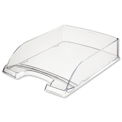 Leitz Letter Tray Robust Polystyrene High Sided with Extra Label Space Clear Ref 52260002