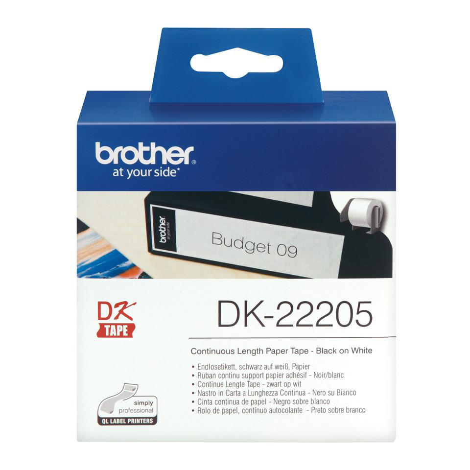Brother Label Continuous Paper Tape 62mmx30.48m White Ref DK22205