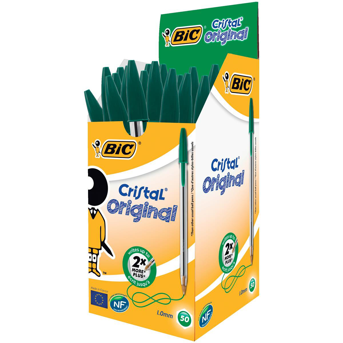 Bic Cristal Ball Pen Clear Barrel 1.0mm Tip 0.32mm Line Green Ref 8373629 Pack 50
