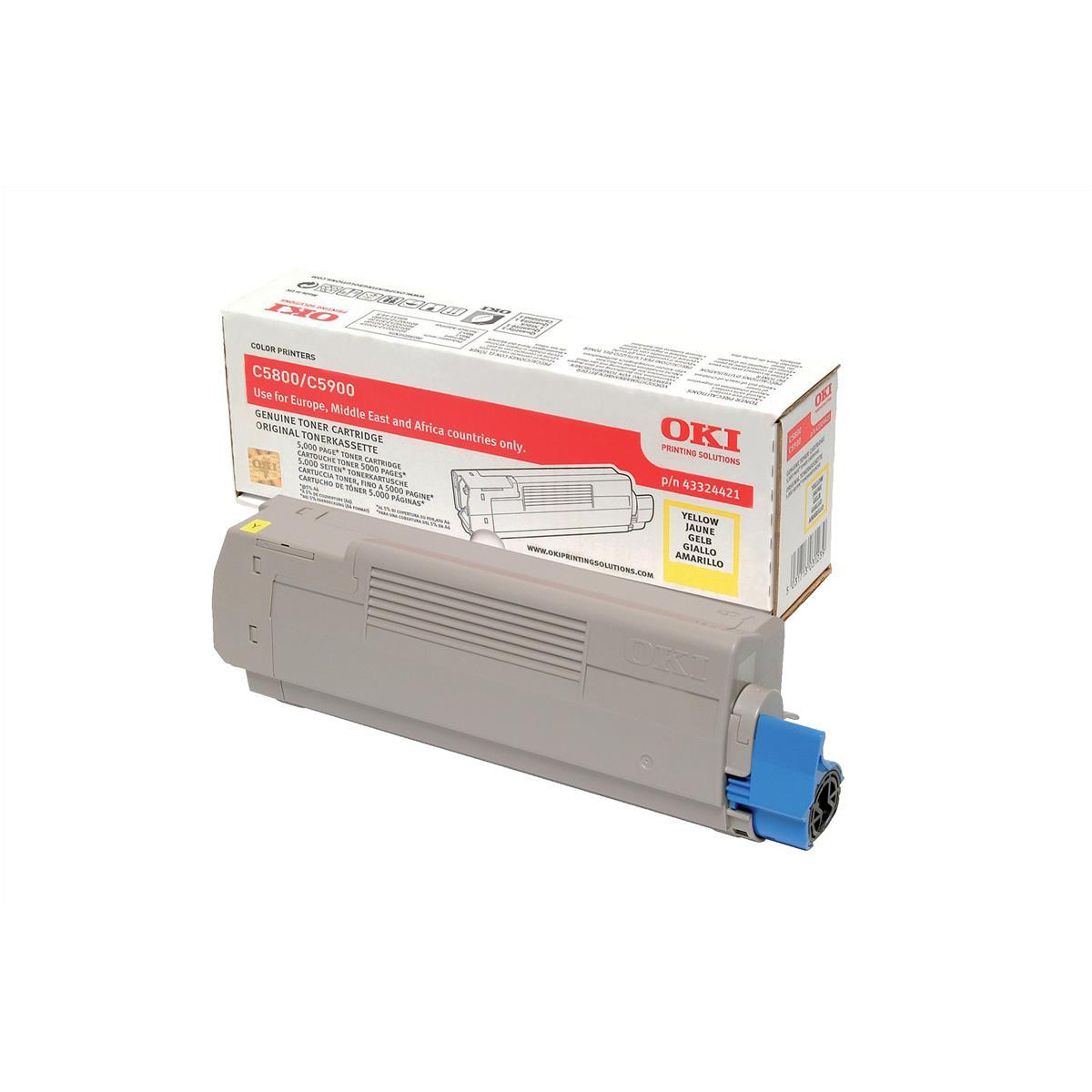 OKI Laser Toner Cartridge Page Life 5000pp Yellow Ref 43324421