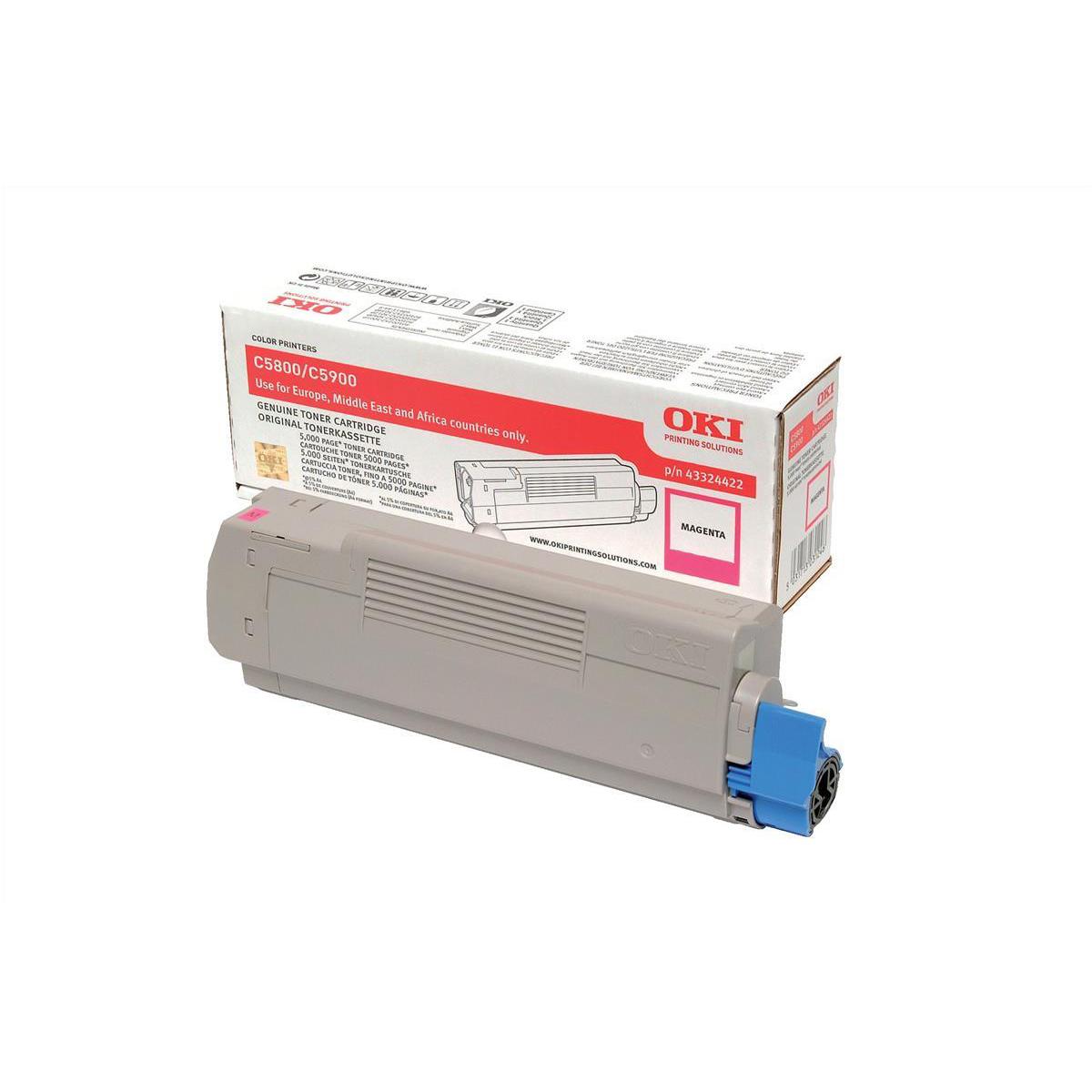 OKI Laser Toner Cartridge Page Life 5000pp Magenta Ref 43324422