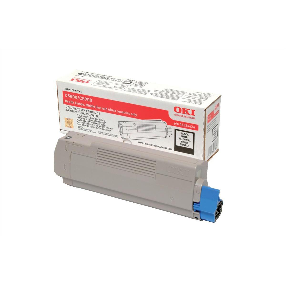 OKI Laser Toner Cartridge Page Life 6000pp Black Ref 43324424