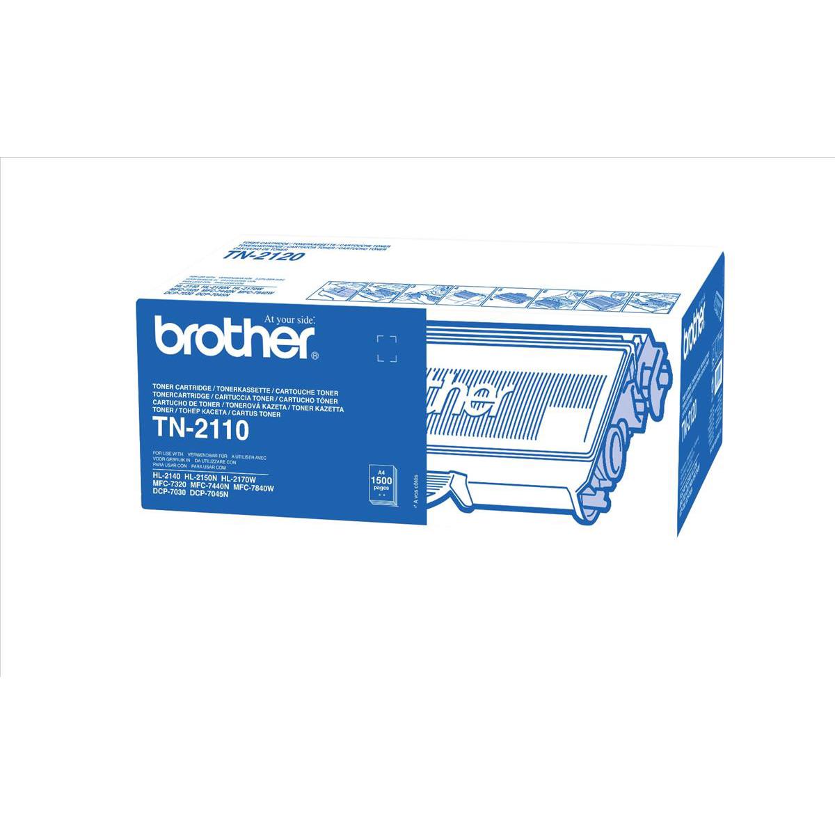 Brother Laser Toner Cartridge Page Life 1500pp Black Ref TN2110
