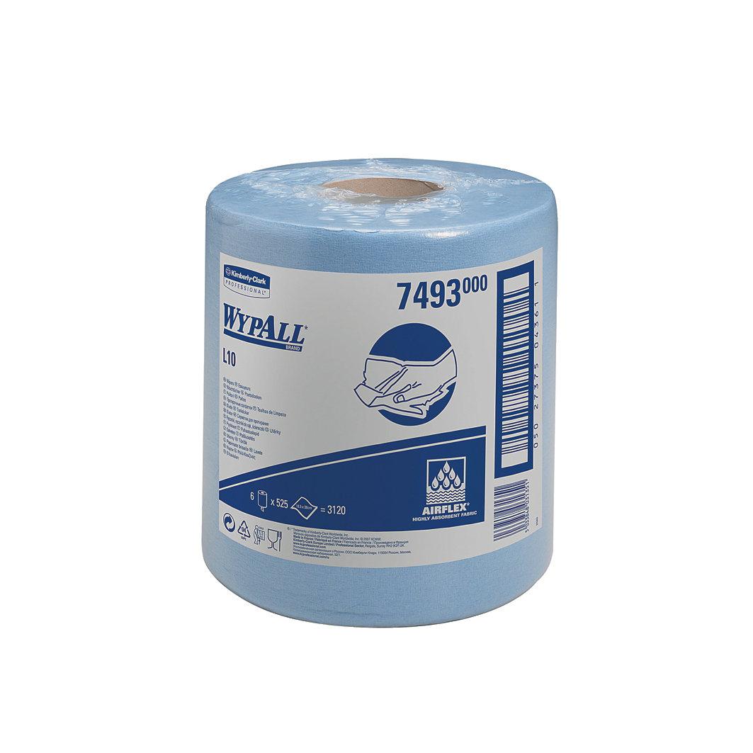 Wypall L10 Wipers Centrefeed Airflex 525 Sheets per Roll 185x380mm Blue Ref 7493 Pack 6