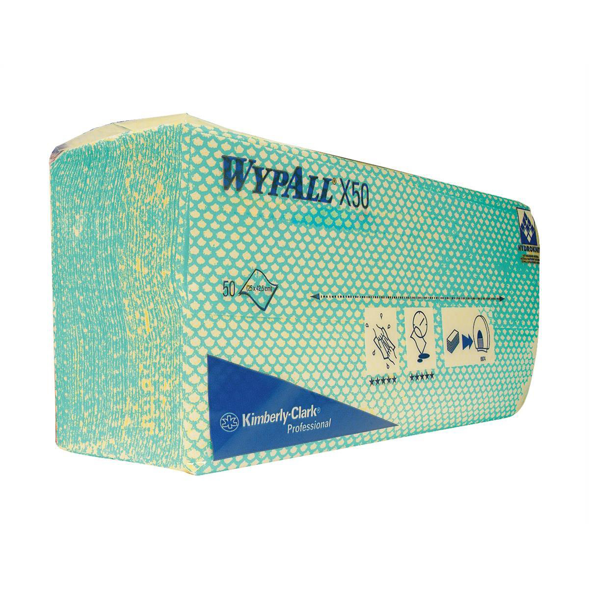 Wypall X50 Cleaning Cloths Absorbent Strong Non-woven Tear-resistant Green Ref 7442 Pack 50
