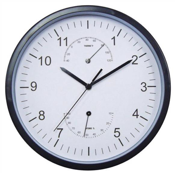 5 Star Facilities Weather Wall Clock w/Temperature & Hygrometry Dials Diam. 300mm White Face & Black Case