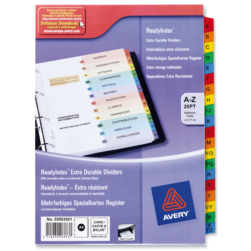 Avery ReadyIndex A-Z 20-Part Punched Mylar-reinforced Multicolour-Tabs 200gsm A4 Whites Ref 02003501