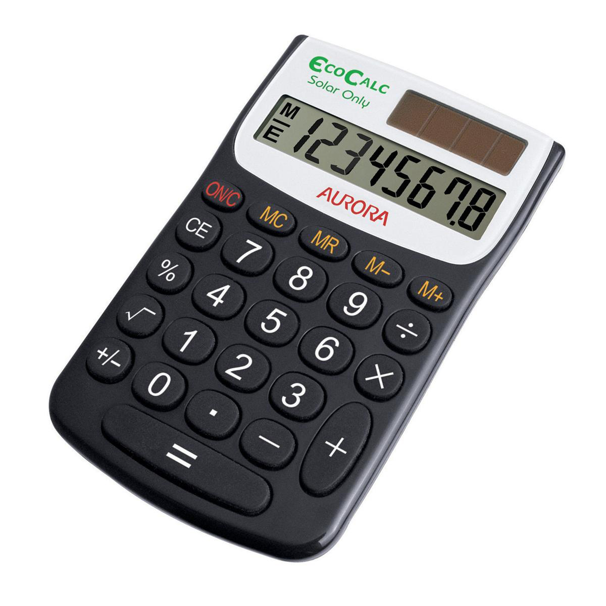 Handheld Calculator Aurora EcoCalc Handheld Calculator 8 Digit 4 Key Memory Solar Power Recycled 62x9x102mm Black Ref EC101