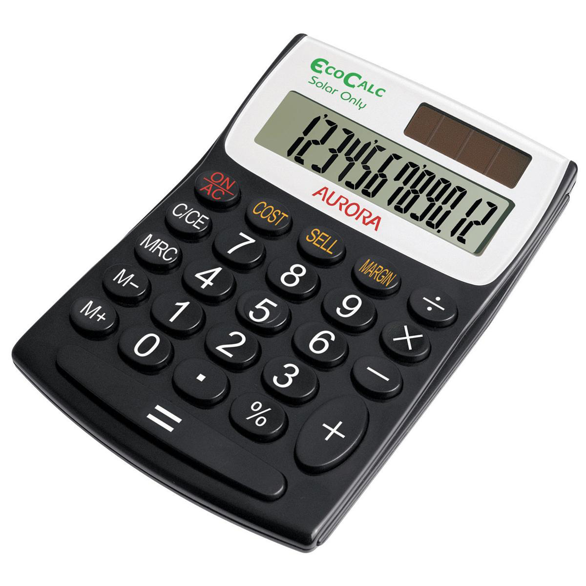 Calculators Aurora EcoCalc Desktop Calculator 12 Digit Recycled Solar Powered 98x28x137mm Black Ref EC404