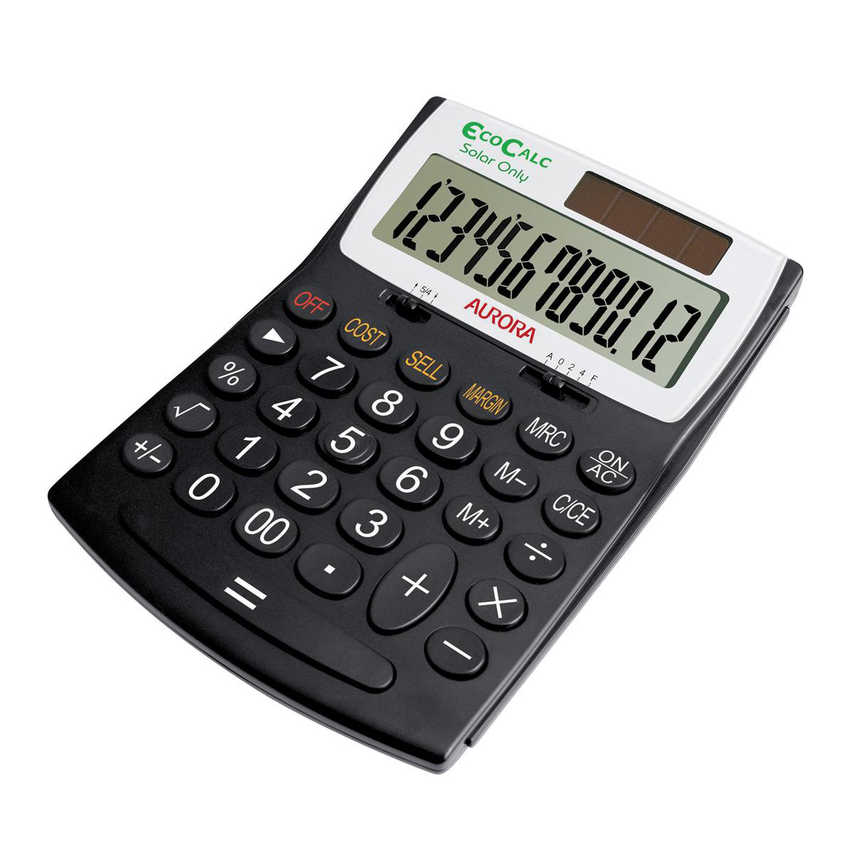 Desktop Calculator Aurora EcoCalc Desktop Calculator 12 Digit 3 Key Memory Recycled Solar Power 128x31x180mm Black Ref EC707