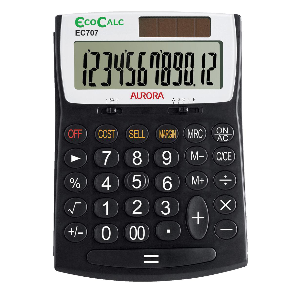 Aurora EcoCalc Desktop Calculator 12 Digit 3 Key Memory Recycled Solar Power 128x31x180mm Black Ref EC707