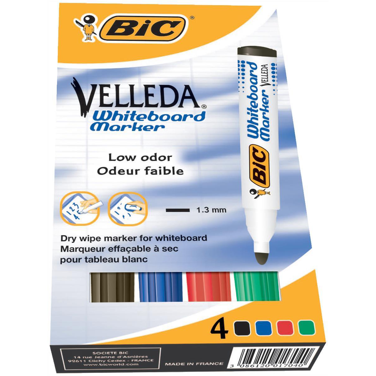 Bic Velleda Marker Whiteboard Dry-wipe 1701 Large Bullet Tip 1.5mm Line Assorted Ref 904941 Pack 4
