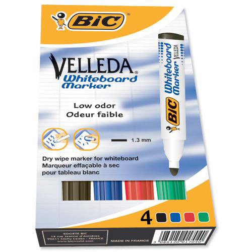 Bic Velleda Marker Whiteboard Dry-wipe 1701 Large Bullet Tip 1.5mm Line Assorted Ref 904941 [Pack 4]