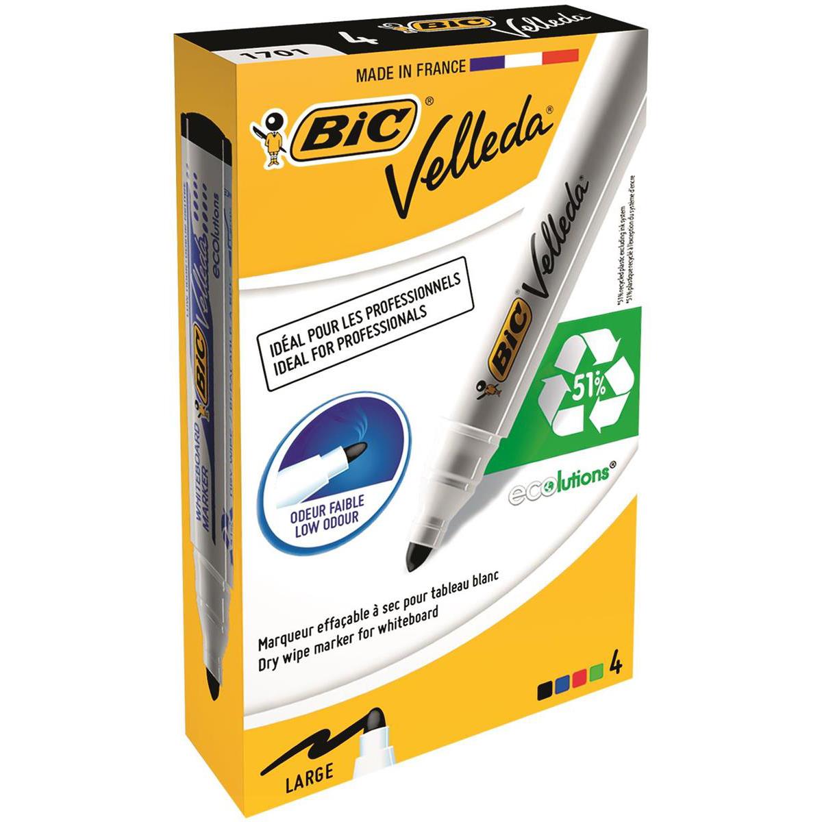Bic Velleda Marker Whiteboard Dry-wipe 1701 Large Bullet Tip 1.5mm Line Assorted Ref 904941 [Pack 4]