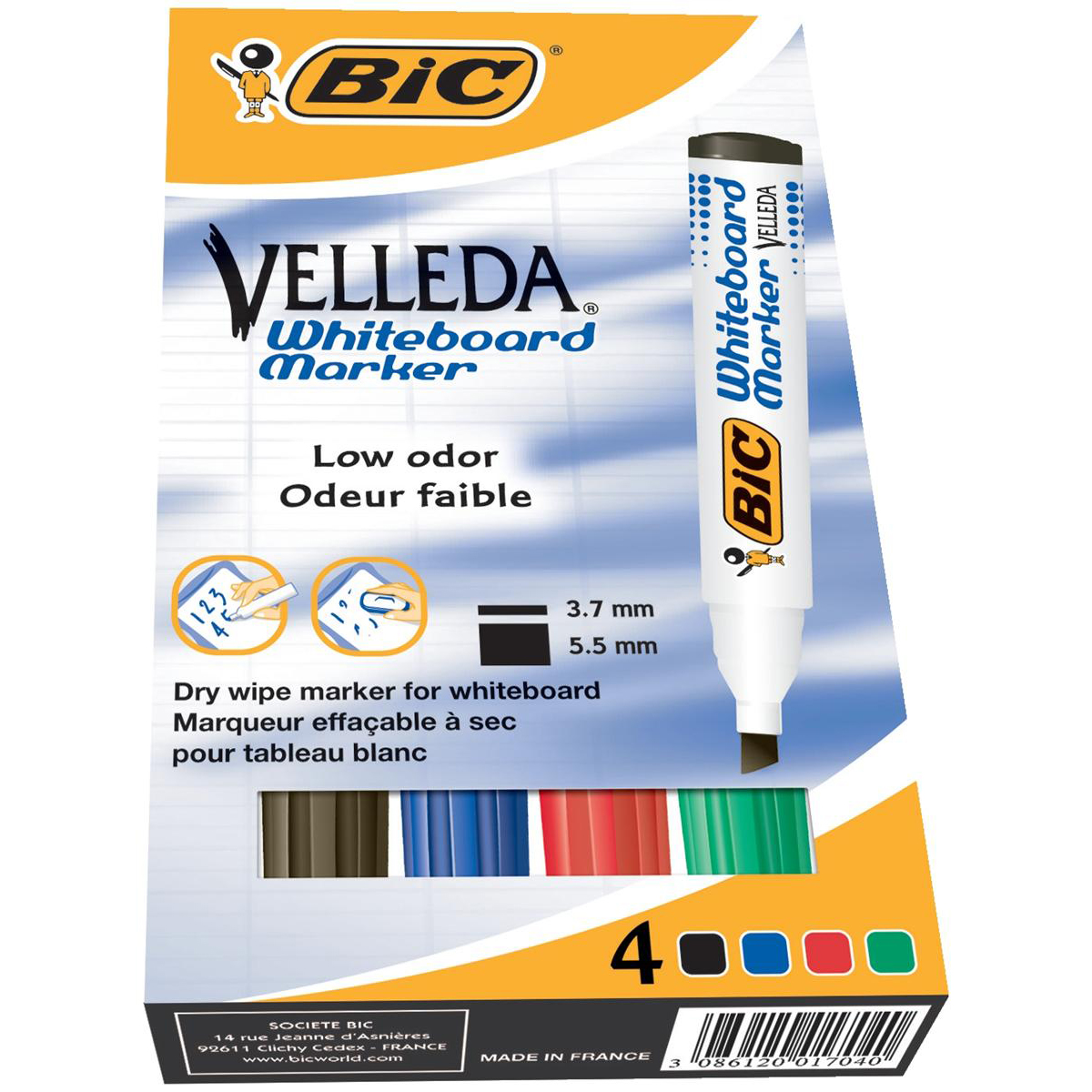 Drywipe Markers Bic Velleda Marker W/bd Dry-wipe 1751 Large Chisel Tip 3.7-5.5mm Line Width Assorted Ref 904950 Pack 4