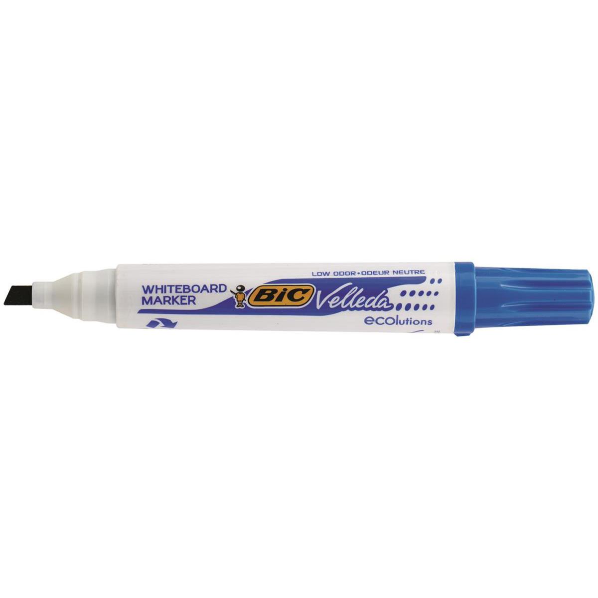 Bic Velleda Marker W/bd Dry-wipe 1751 Large Chisel Tip 3.7-5.5mm Line Width Assorted Ref 904950 Pack 4