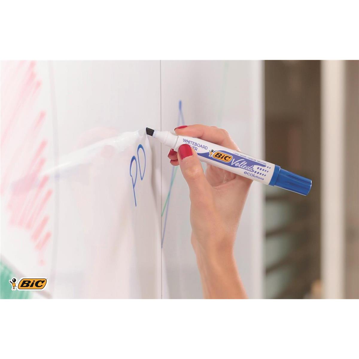 Bic Velleda Marker W/bd Dry-wipe 1751 Large Chisel Tip 3.7-5.5mm Line Width Black Ref 904946 Pack 12