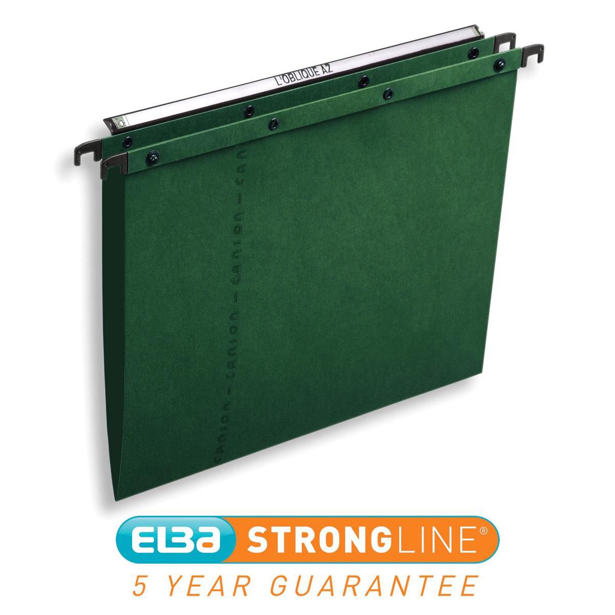 Elba AZO Ultimate Linking Suspension File 15mm V-base 240gsm Foolscap Green Ref 100330318 [Pack 25]