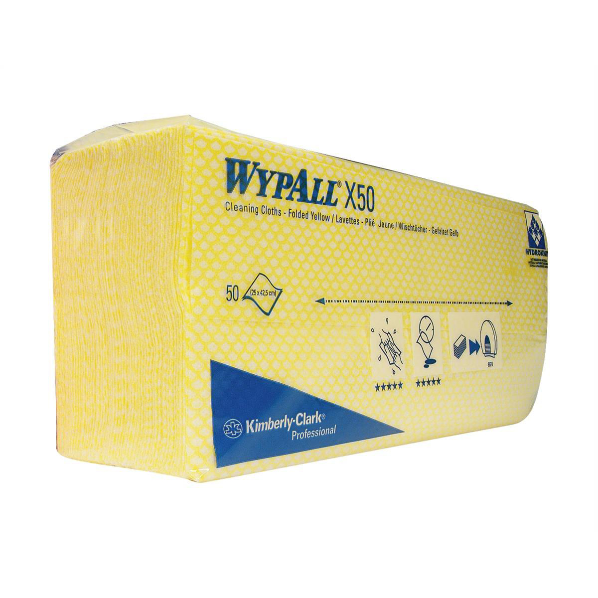 Wypall X50 Cleaning Cloths Absorbent Strong Non-woven Tear-resistant Yellow Ref 7443 Pack 50