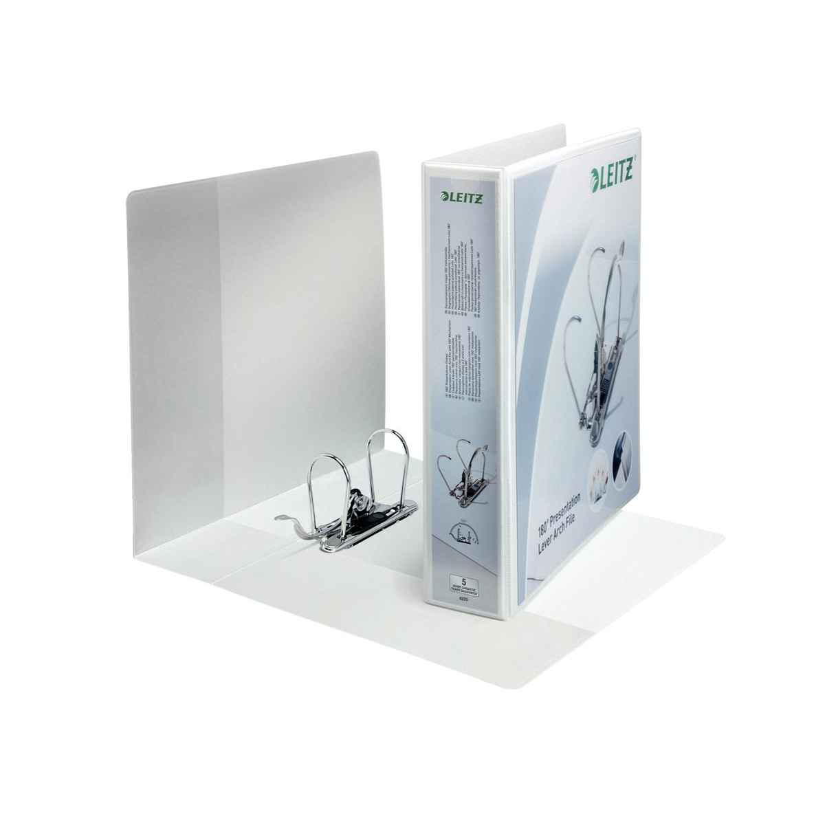 Leitz Presentation Lever Arch File 180 Degree Opening 80mm Spine A4 White Ref 42250001 Pack 10