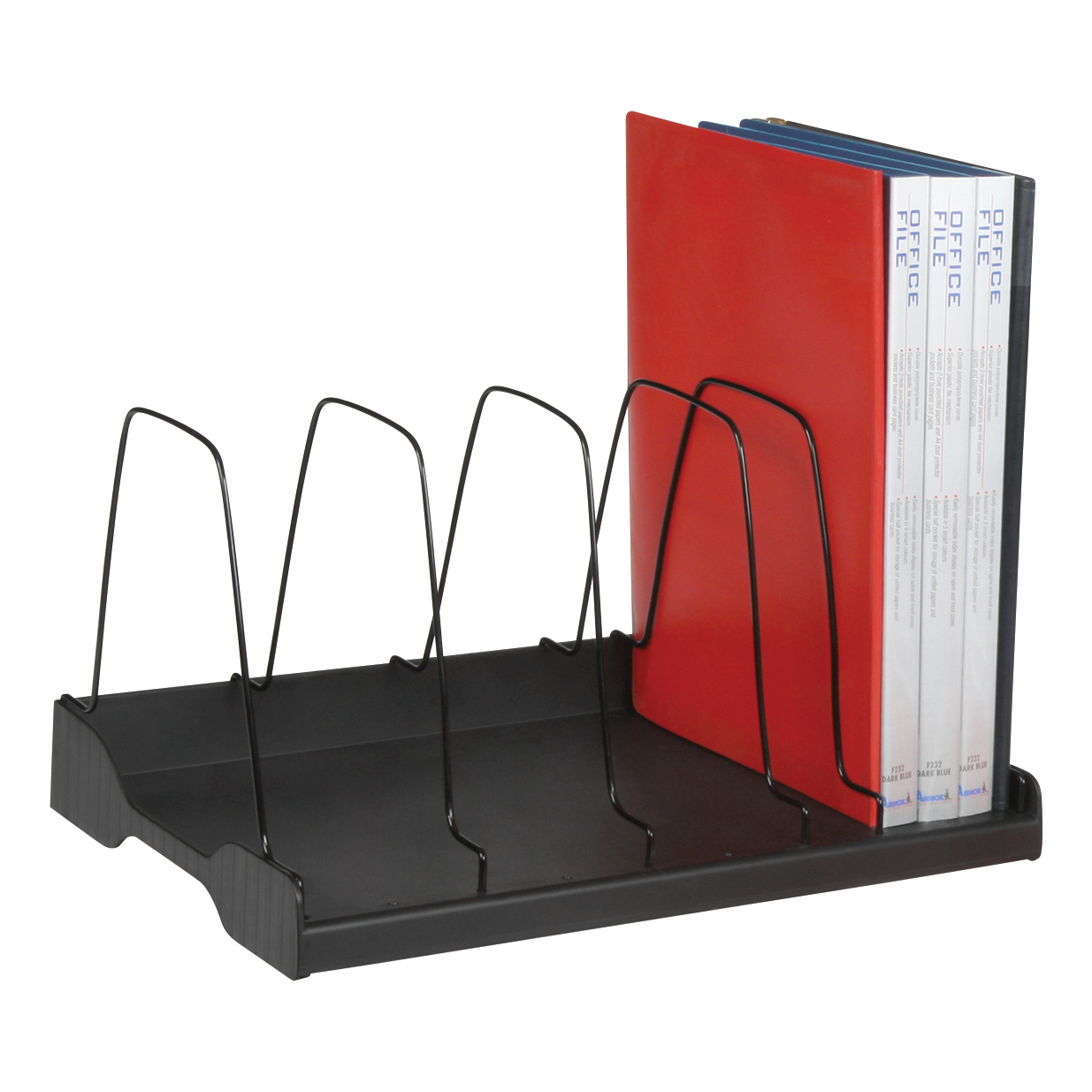 Adjustable Book Rack 6 Wire Dividers W388xD275xH220mm Black