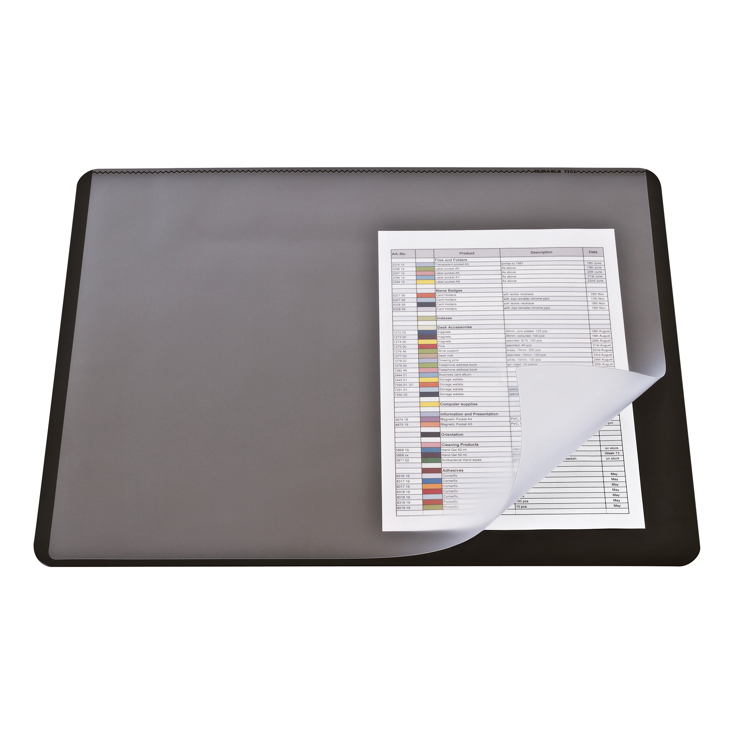 Desk Mats Durable Desk Mat with Transparent Overlay W530xD400mm Black Ref 7202/01