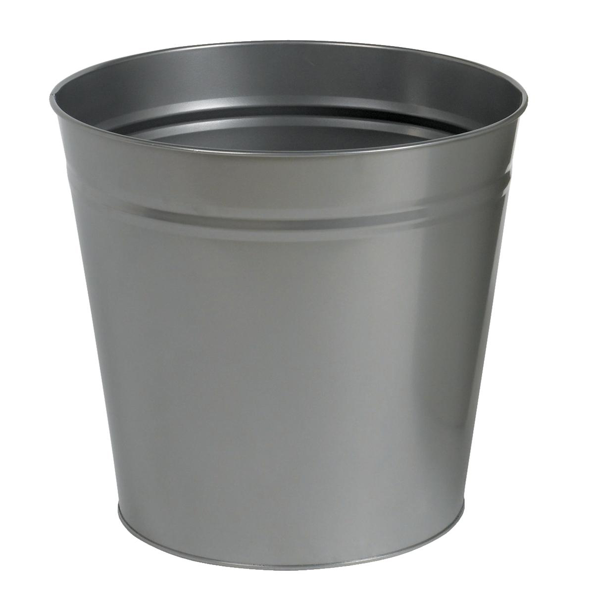 Rubbish Bins 5 Star Facilities Waste Bin Round Metal Scratch Resistant 15 Litre Capacity 300x280mm Grey
