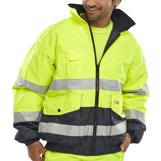 BSeen Europa High Visibility Bomber Jacket Small Saturn Yellow/Navy Ref EBJSYNS *Up to 3 Day Leadtime*