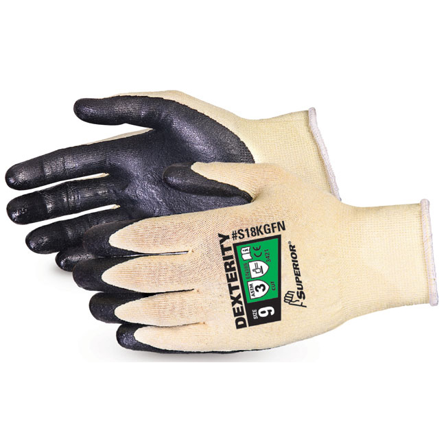 Superior Glove Dexterity Ultrafine 18-G Cut-Resist Kevlar 10 Black Ref SUS18KGFN10 Upto 3 Day Leadtime